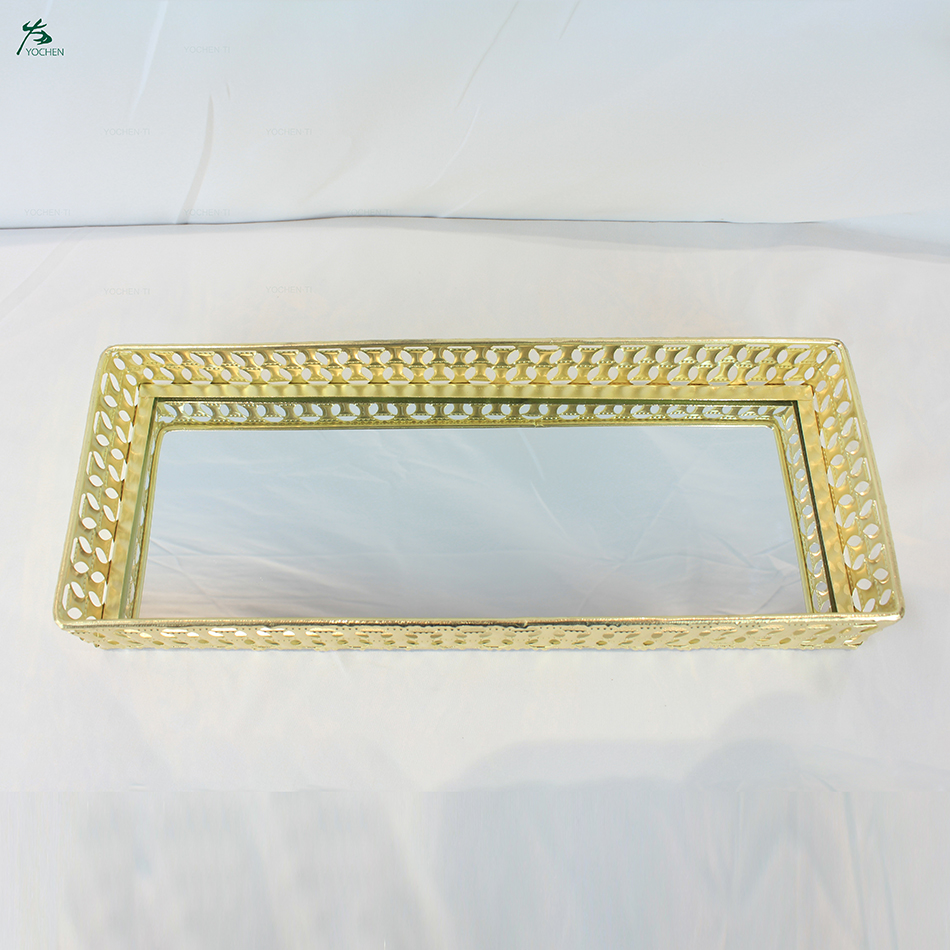 Custom tray gold printed wholesale hotel decorative metal mirror serving tray