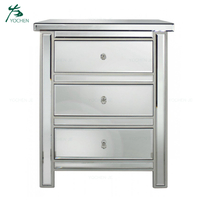 bedside table silver mirrored nightstand with 3 drawers