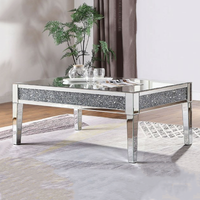luxury crushed diamond mirrored modern coffee table