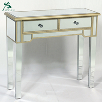 European style antique wood mirrored console table