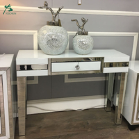 Factory Wholesale OEM White Glass Mirrored 1 Drawer Console Table