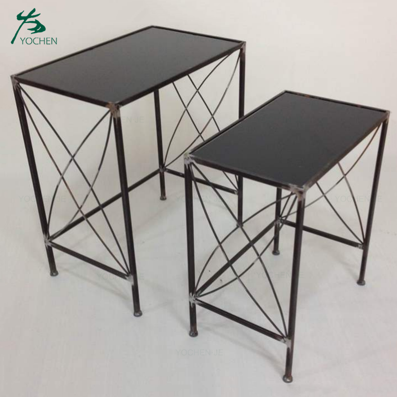 outdoor furniture wrought iron rectangular metal nesting tables