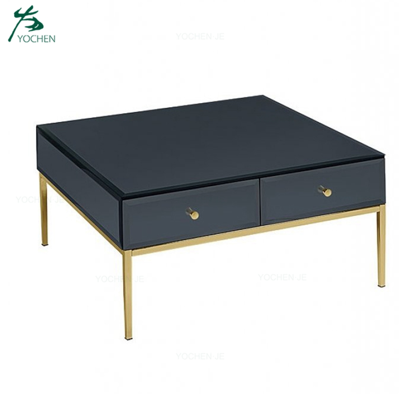black glass mirrored coffee table sofa center table