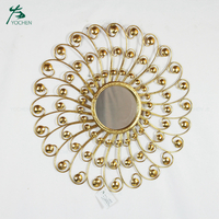 New design metal frame wall decorative gold metal mirror