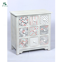 Antique 9 drawer wooden cabinet with MDF painting designs for bedroom