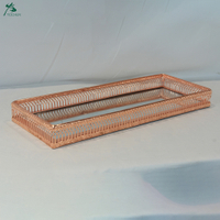 Rectangle mirrored tray accent mirrored tray in rose gold
