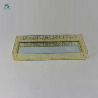 Rectangular Mirror Serving Tray Vintage Metal Vanity Food Platter Wedding Decor