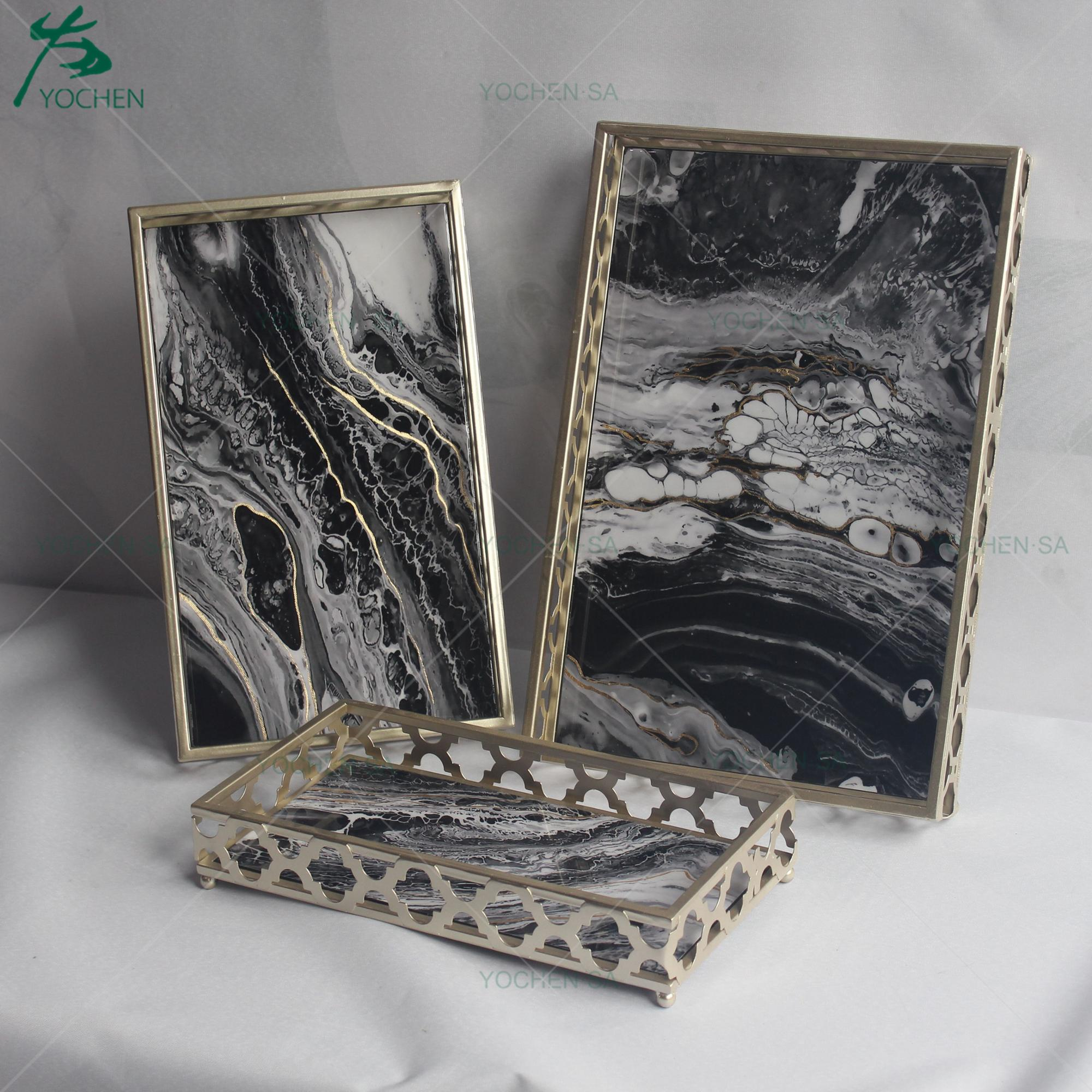 Contrast Faux Marble Metal Frame Serving Trays