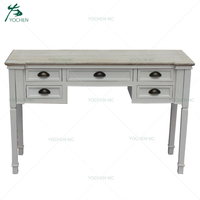 Modern Home Furniture White Wooden Console Table with 5 Drawers
