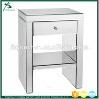 Bedside One Drawer Mirrored Nightstand Bedroom Table