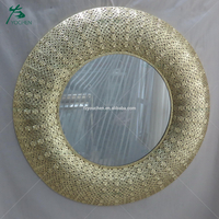 shining round golden metal frame hotel bathroom mirrors