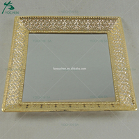 Mirror Glass Decorative Vintage Silver Metal Plate Display Tray