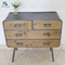 2 Shelf 4 Drawers Retro Wood Industrial Cabinet