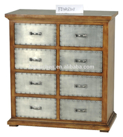 Small Cabinet with Many Drawer Aluminum Surface
