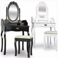 White and Black Vanity Wooden Carving Dressing Table for Girl Makeup