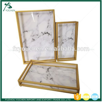 Faux Marble Metal Framed Tray Storage Serving Tray