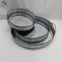 Metal Round Tray with Cutout Side Handles
