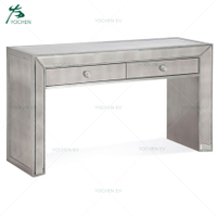 Brushed Antique Silver Paint Mirrored 2 Drawers Low Console Table