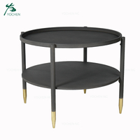 Antique black round metal coffee tables
