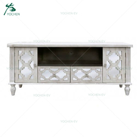 Washed White Painted Wood Frame Mirrored Television Cabinet