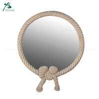 Small Round Decorative Wrapped Rope Mirror