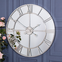 Metal round shape mirrored wall clock