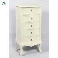 Chinese Wooden Tallboy 5 Drawer Chest White Printing