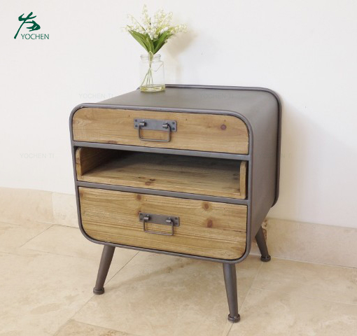 Retro Urban Industrial Style Three Drawer Bedside Cabinet Chest Table