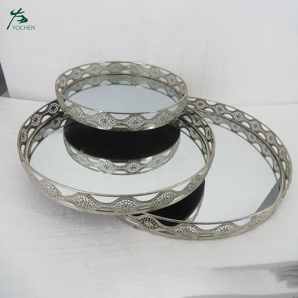 Round Mirrored 3 Piece Vanity Tray Set Metal Mirror Tray