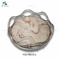 High quality table decoration metal marble tray