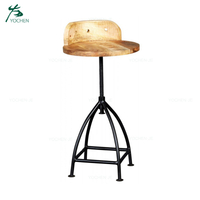 Solid wood metal leg industrial living room stool