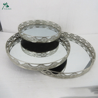 Mirror Glass Decorative Vintage Silver Metal Candle Plate Perfume Display Trays (3 sets)