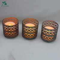 Round christmas antique luxury candle holder set