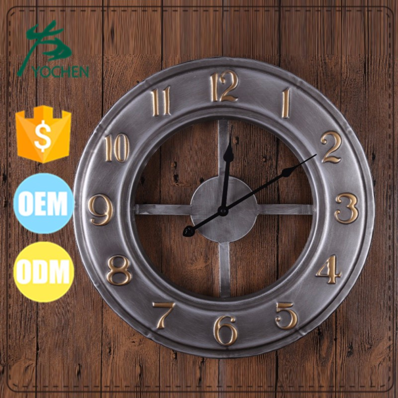 Home interior decorative metal wall mounted antique clock