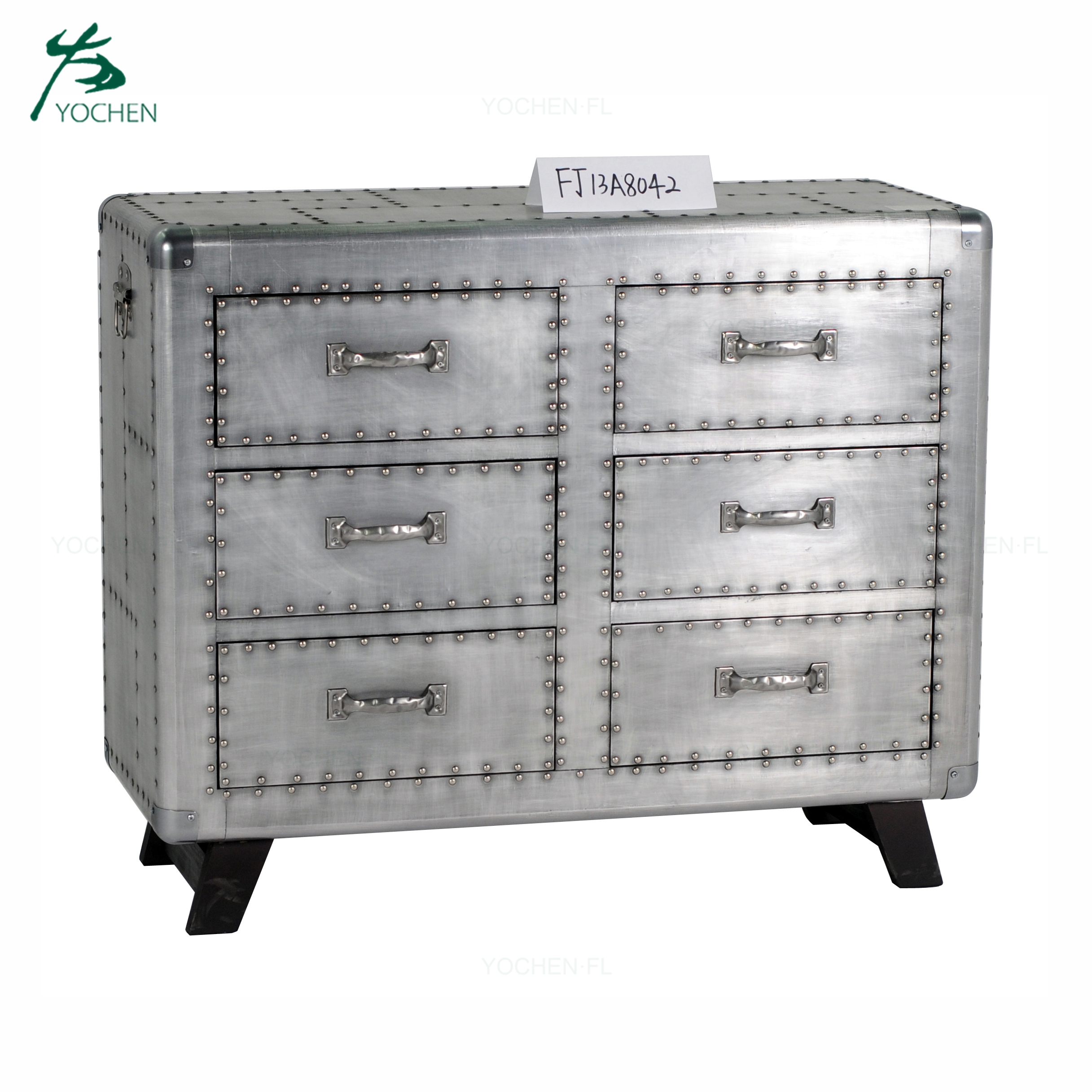 special artwork aluminum surface wood 2 cabinet drawer in living room