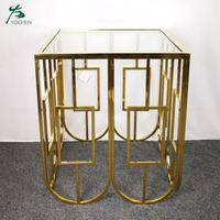 shining golden metal stainless steel glass top sideboard modern
