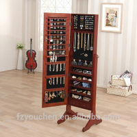 Creative design wood mirror jewelry cabinet