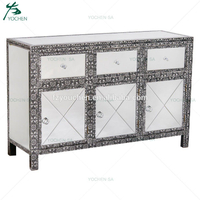 Large Metal Embossed Decor Mirrored Sideboard Buffet