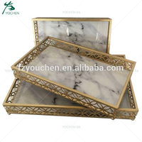 Decorative Faux Marble Top Antique Gold Metal Serving Tray