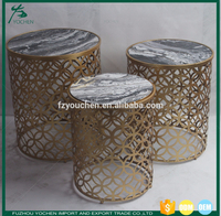Lattice Design Body Set of Two Nesting Accent Table Faux Marble Top