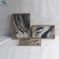 Contrast Faux Marble Trays Set 3