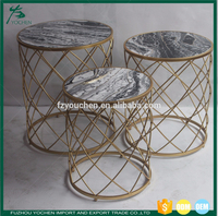 Faux Marble Top Metal Round Nesting Side Table