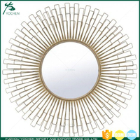 Handmade metal frame decoration sun shape wall mirror