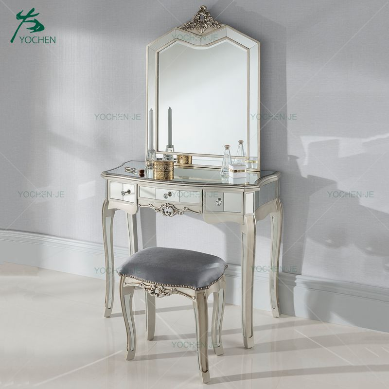 Argente Mirrored Antique French Style Dressing Table Set