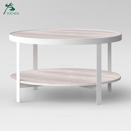 Living Room Oval Shape White Wash Modern Metal Coffee Table