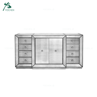 2 doors wooden mirrored furniture living room cabinet