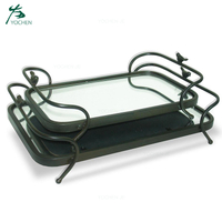Home decorative mirror serving tray small black metal tray