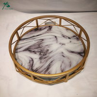 Antique Gold Round Serving Tray Marble Serving Tray