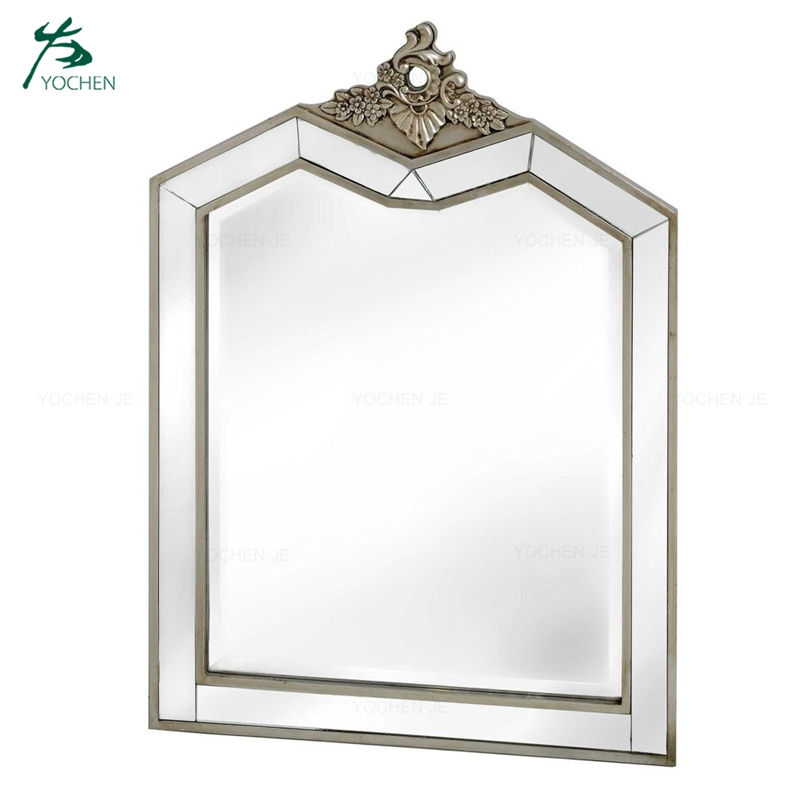 Antique wood frame decorative glass dressing mirror