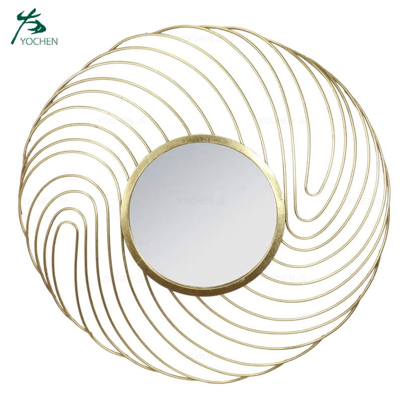 Wall mounted decorative glass round gold metal mirror